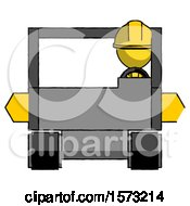 Yellow Construction Worker Contractor Man Driving Amphibious Tracked Vehicle Front View