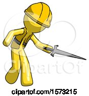 Yellow Construction Worker Contractor Man Sword Pose Stabbing Or Jabbing