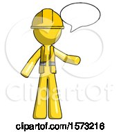 Yellow Construction Worker Contractor Man With Word Bubble Talking Chat Icon