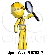 Yellow Construction Worker Contractor Man Inspecting With Large Magnifying Glass Facing Up