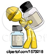 Yellow Construction Worker Contractor Man Holding Large White Medicine Bottle With Bottle In Background