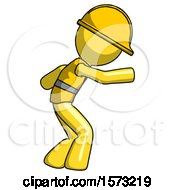 Yellow Construction Worker Contractor Man Sneaking While Reaching For Something