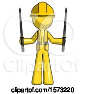 Yellow Construction Worker Contractor Man Posing With Two Ninja Sword Katanas Up