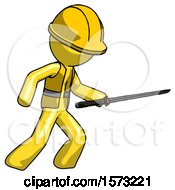 Yellow Construction Worker Contractor Man Stabbing With Ninja Sword Katana
