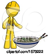 Yellow Construction Worker Contractor Man And Noodle Bowl Giant Soup Restaraunt Concept