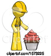 Yellow Construction Worker Contractor Man With Giant Cupcake Dessert