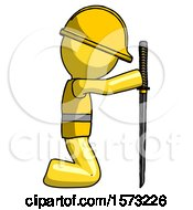 Yellow Construction Worker Contractor Man Kneeling With Ninja Sword Katana Showing Respect