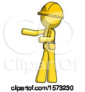Yellow Construction Worker Contractor Man Presenting Something To His Right