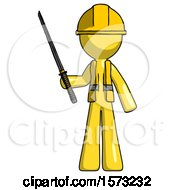 Yellow Construction Worker Contractor Man Standing Up With Ninja Sword Katana