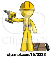 Yellow Construction Worker Contractor Man Holding Drill Ready To Work Toolchest And Tools To Right