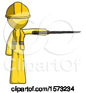 Yellow Construction Worker Contractor Man Standing With Ninja Sword Katana Pointing Right