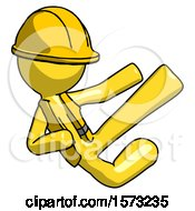 Yellow Construction Worker Contractor Man Flying Ninja Kick Right