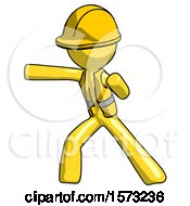 Yellow Construction Worker Contractor Man Martial Arts Punch Left