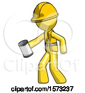 Yellow Construction Worker Contractor Man Begger Holding Can Begging Or Asking For Charity Facing Left