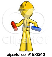 Yellow Construction Worker Contractor Man Red Pill Or Blue Pill Concept