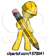Yellow Construction Worker Contractor Man Writing With Large Pencil