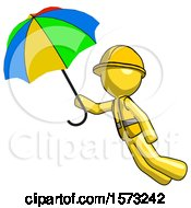 Yellow Construction Worker Contractor Man Flying With Rainbow Colored Umbrella