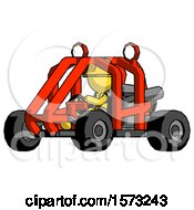 Yellow Construction Worker Contractor Man Riding Sports Buggy Side Angle View