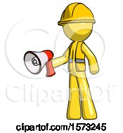 Yellow Construction Worker Contractor Man Holding Megaphone Bullhorn Facing Right