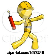 Yellow Construction Worker Contractor Man Throwing Dynamite