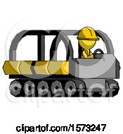 Yellow Construction Worker Contractor Man Driving Amphibious Tracked Vehicle Side Angle View