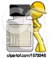 Yellow Construction Worker Contractor Man Leaning Against Large Medicine Bottle