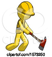 Yellow Construction Worker Contractor Man Striking With A Red Firefighters Ax