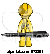 Yellow Construction Worker Contractor Man Weightlifting A Giant Pen