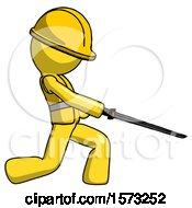 Yellow Construction Worker Contractor Man With Ninja Sword Katana Slicing Or Striking Something