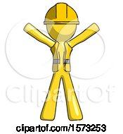 Yellow Construction Worker Contractor Man Surprise Pose Arms And Legs Out