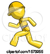 Yellow Construction Worker Contractor Man Running Fast Left
