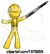 Yellow Construction Worker Contractor Man Demonstrating That Indeed The Pen Is Mightier