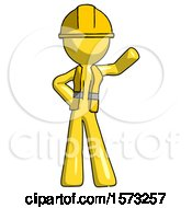 Yellow Construction Worker Contractor Man Waving Left Arm With Hand On Hip