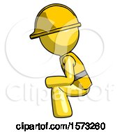 Yellow Construction Worker Contractor Man Squatting Facing Left