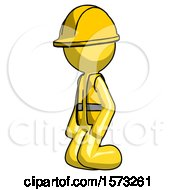 Yellow Construction Worker Contractor Man Kneeling Angle View Left