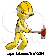Yellow Construction Worker Contractor Man With Ax Hitting Striking Or Chopping