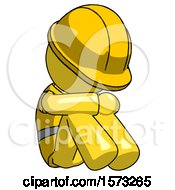 Yellow Construction Worker Contractor Man Sitting With Head Down Facing Angle Right