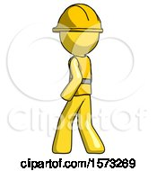 Yellow Construction Worker Contractor Man Walking Away Direction Left View