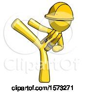 Yellow Construction Worker Contractor Man Ninja Kick Left
