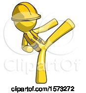 Yellow Construction Worker Contractor Man Ninja Kick Right