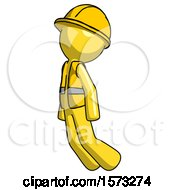 Yellow Construction Worker Contractor Man Floating Through Air Left