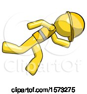 Yellow Construction Worker Contractor Man Running While Falling Down