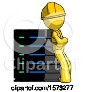 Yellow Construction Worker Contractor Man Resting Against Server Rack Viewed At Angle