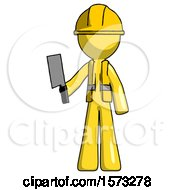 Yellow Construction Worker Contractor Man Holding Meat Cleaver