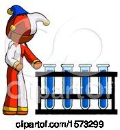 Orange Jester Joker Man Using Test Tubes Or Vials On Rack