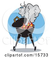 Flames Over Charcoal Casting Smoke Over A Bbq Grill Clipart Illustration
