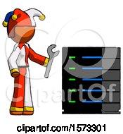 Orange Jester Joker Man Server Administrator Doing Repairs
