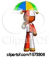 June 19th, 2018: Orange Jester Joker Man Holding Umbrella Rainbow Colored by Leo Blanchette
