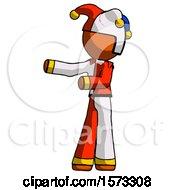 Orange Jester Joker Man Presenting Something To His Right