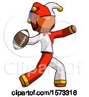 Orange Jester Joker Man Throwing Football
